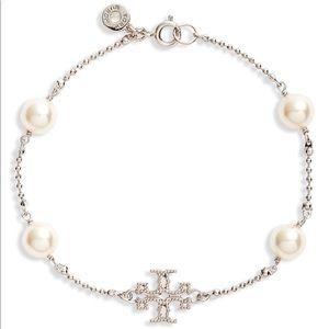 New Tory Burch Milgrain Pearl Rosary Bracelet